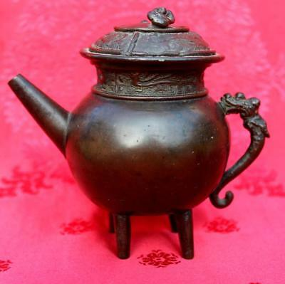 AUTHENTIC ANTIQUE c.1900 CHINESE FOOTED BRONZE WATER DROPPER - DRAGON MOTIF