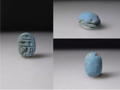 Ancient Egyptian blue frit scarab.
