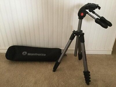 "Manfrotto 65"" Compact Advanced Aluminum Tripod & 3-Way Head with Case Black"