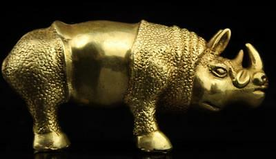 China old antique hand made brass rhinoceros statue d02