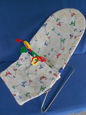 Vtg. Baby Bouncy Seat for Infants or Reborn dolls, SUMMER brand, with toy bar