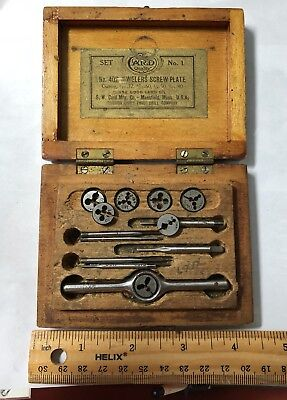 S.W. Card Mfg Vintage Watchmaker Jeweler Tap and Die Tool Set Lot in Box Antique