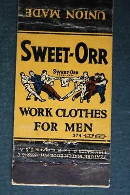 1930-40s  Era Philadelphia Pennsylvania Sweet-Orr work clothes for men matchbook