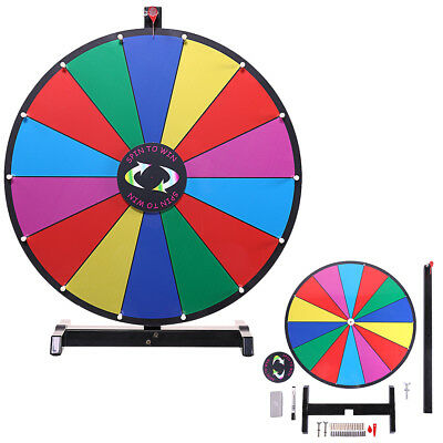 "Upgraded Editable 24"" Color Prize Wheel Fortune Tabletop Spinning Game"