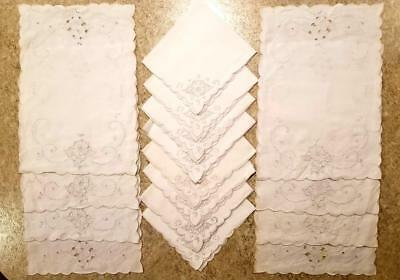 Antique Madeira Linen Set, 8 Placemats & 8 Napkins, Cutwork, Embroidery, 3 NWT