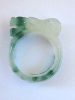 Antique/Vintage Chinese Carved White/Green Jade Foo Dog/Lion/Dragon Ring -Size 8