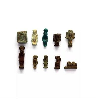 1 Fragment of ISIS & Horus and 9 Ancient Egyptian Amulets.