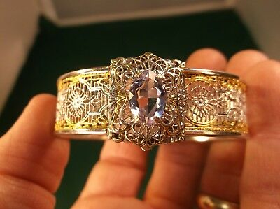 Absolutely Gorgeous Vtg Antique Art Deco Silver & Gold Filigree Hinged Bangle