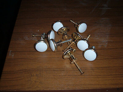 Lot of 10 Ivory brass color metal round heavy cabinet knobs or drawer pulls