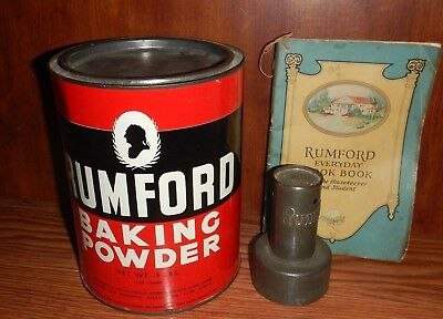 Vintage Rumford Baking Powder 5 lb Tin Can Biscuit Cutter Everyday Cookbook