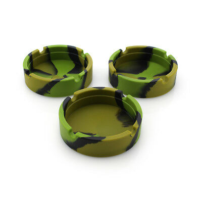 Camo Portable Rubber Silicone Ashtrays Cigarette Holder Smoking Accessories KY