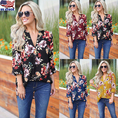 Womens 3/4 Sleeve V neck Floral Tunic Tops Ladies Summer Casual Blouse Shirt USA