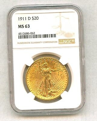1911-D Gold $20 Saint Gaudens Double Eagle Ngc Ms63