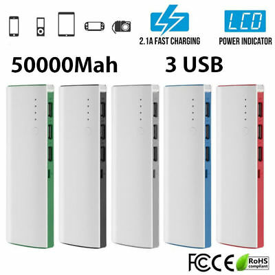 US Slim 50000mAh 3USB LED Power Bank LCD External Battery Charger for Cell Phone