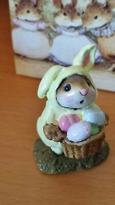 Wee Forest Folk M-082 Easter Bunny-Mouse  RETIRED yellow Mint