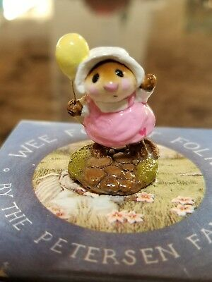 Wee Forest Folk M-131  Come Play  Pink dress/Yellow balloon RETIRED Mint