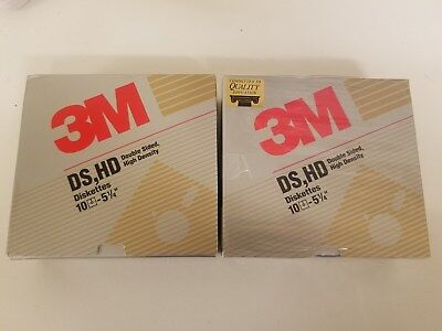 """LOT 2 Boxes NEW 3M Floppy Diskettes 5 1/4"""" 5.25"""" DS HD Blank 10 IBM Disks"""
