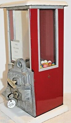 "Original Red And White ""the Master"" One Cent Gumball Vending Machine"