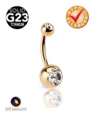 Water Safe 18CT Gold Double Clear Gem Belly Bar 14G 316L Surgical Steel Piercing
