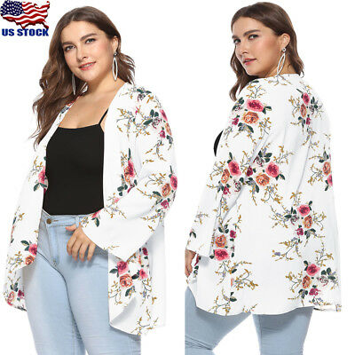 Women BOHO Floral Loose Cardigan Kimono Top Beach Outerwear Blouse Plus Size USA