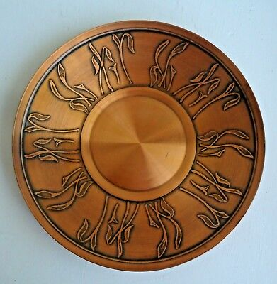 Vintage Rodd Australia Round Copper Plate decorated with Lillies
