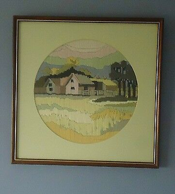 Lovely Vintage Country Style Completed Longstitch Picture *Old Barn