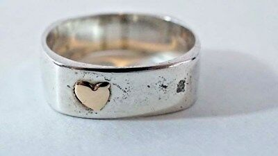 G407 Super Cute Sterling Square Rounded Band With Gold Heart Overlay Size: 7