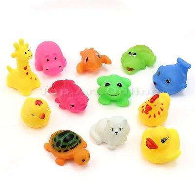 12pcs Rubber Baby Kids Bath Toys Mixed Different Animal Washing Educational Set