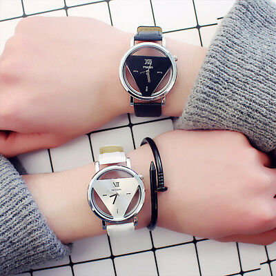 Fashion Retro Women Men Stainless Steel Leather Band Quartz Analog Wrist Watch E