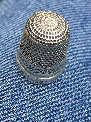 Sterling Silver Thimble - James Walker Wishes You Luck, 1924