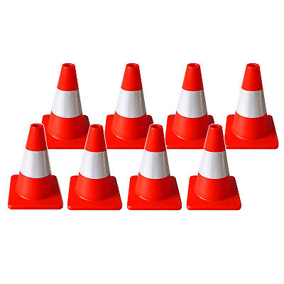 8pcs 300mm Traffic Cones Red w/Reflective White Collar Roadwork Safety Plastic