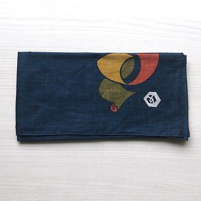 Vintage Japanese Scarf - Navy Blue with Red Graphic Print Small 42cm Square