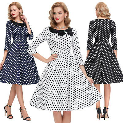 Dress Prom Pinup 1940's Retro Vintage Womens Party Swing A-line 50s 60s Style