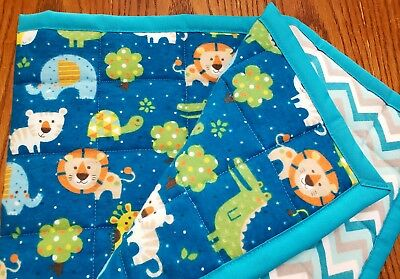 """HANDMADE, """"ZOO ANIMALS"""", 35x43in FLANNEL BABY/TODDLER  QUILTED BLANKET-GIFT IDEA"""