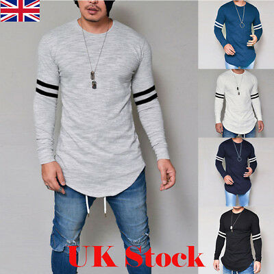 UK New Mens Longline Casual Long Sleeve Shirts Blouse Slim Fit Tee Tops T-Shirt