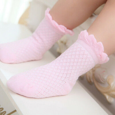 Cute Baby Toddler Kids Girls Boys Lace Mesh Thin Soft Cotton Ankle Socks Pink