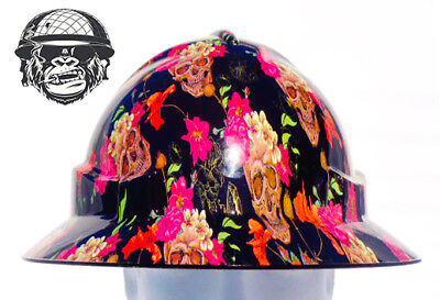 Custom Hydrographic Wide Brim Safety Hard Hats SKULLS & ROSES WIDE
