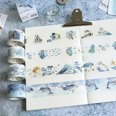 Blue Dream Nature Ocean Sky Washi Tapes Adhesive Masking Paper Crafts DIY AU