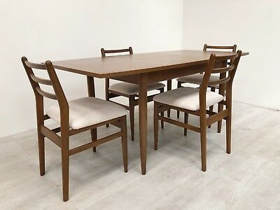 Scandart Vintage Mid Century 1960S Golden Elm Extending Dining Table & 4 Chairs