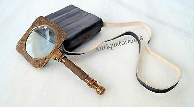 Collectible Vintage Antique Brass Magnifying Glass Magnifier With Leather Case