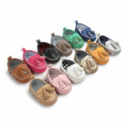 Newborn Infant Baby Girls Boys Tassels Soft Sole Loafer Shoes Prewalker Moccasin