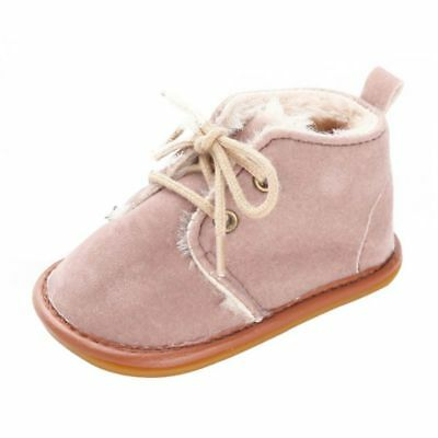 Winter Baby Girls Matte PU Leather+Velvet Boots Toddler Soft Crib Straps Shoes