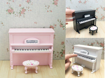 Dolls House Miniature 1:12 Music Room Pink Upright Piano Pianoforte Bench Model