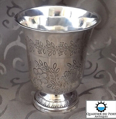 French Antique Sterling Silver Wine Cup Beaker Timbale Tulip Engraved c.1840