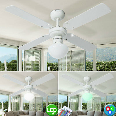 Led Ceiling Vent 102cm RGB Dimmable with Remote Control Glass Wind Fan Lamp