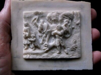 Rare Antique Interesting Miniature Relief Moulded/carved  Bisque Material Plaque