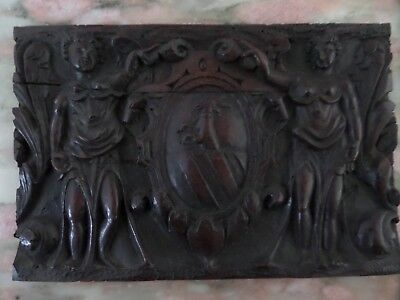 16th Century Carved Oak Armorial Panel Winged Angels