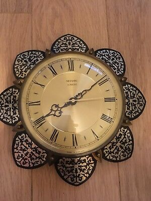 VINTAGE METAMEC SUNBURST Style STARBURST STYLE QUARTZ WALL CLOCK MADE IN ENGLAND