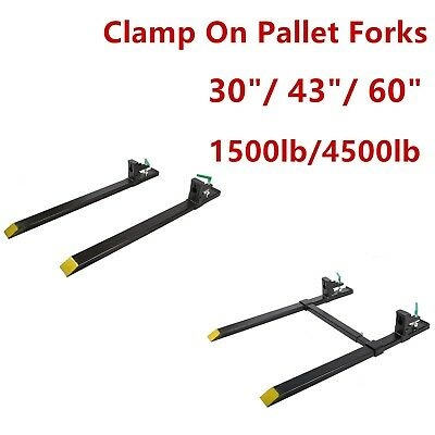 "30"" 43"" 60"" 1500lb/4000lb Clamp on Pallet Forks Loader Bucket Skidsteer Tractor"