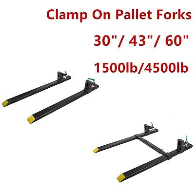 "1500/4000lb Clamp on Pallet 30""/43"" Forks Loader Bucket Skidsteer Tractor Chain"